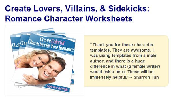 character worksheets, character templates, romance novels